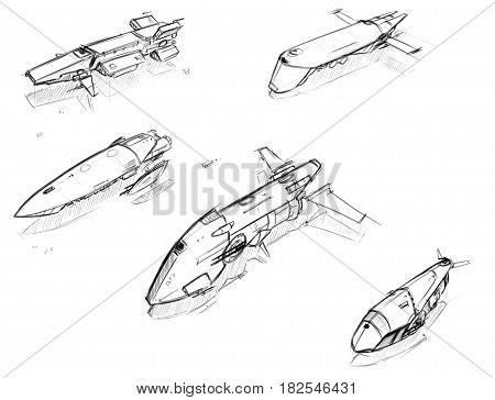 Set of five hand drawn pencil concept art sketches of scifi sci-fi space ship designs