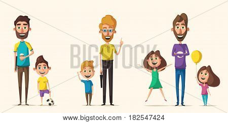Dad and children character. Cartoon vector illustration. Happy fathers, friendly kids. Positive emotions. Beautiful family.
