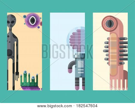 Set of different funny cartoon monsters cards cute alien characters and creature happy illustration devil colorful animal vector. Halloween cool gesture face bacteria or comic viruses.