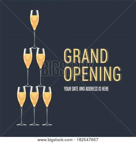 Grand opening vector banner. Pyramid of flute goblet with champagne design for poster for opening event