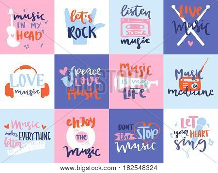 Music love motivation lables badges karaoke related vintage design elements vector illustration. Club emblems hipster vintage fun trendy hand drawn poster.