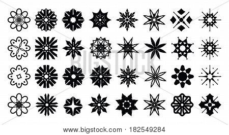Set of of stylized stars snowflakes and flowers. Vector round ornament template for logo wall decor sticker fabric print embroidery. Simple digital design elements isolated on white