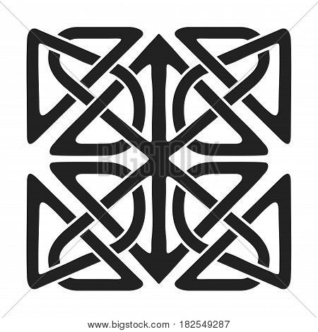 Celtic national ornament in the shape of a interlaced tape. Black ornament isolated on white background.