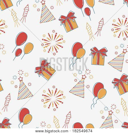 Holiday line icon seamless pattern. Party background. Happy birthday party celebration pattern.