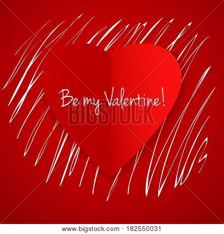 Happy Valentine's day vector card. With hand drawn white hatch under the heart. Elegant and tender gift or invitation card. Be my Valentine invitation card.