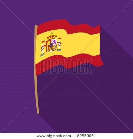 Flag of Spain icon in flate design isolated on white background. Spain country symbol stock vector illustration.