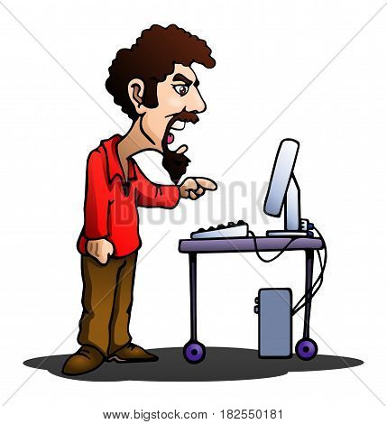 illustration of a man angry at his computer on isolated white background