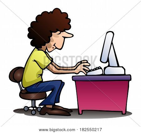 illustration of a man playing computer on isolated white background
