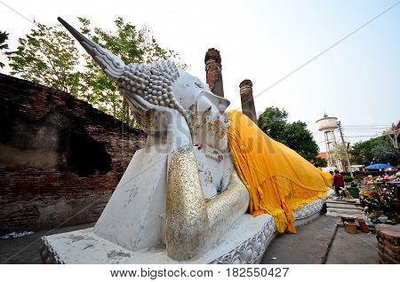 Big reclining buddha in wat yai chai mongkol, Ayutthaya, Thailand