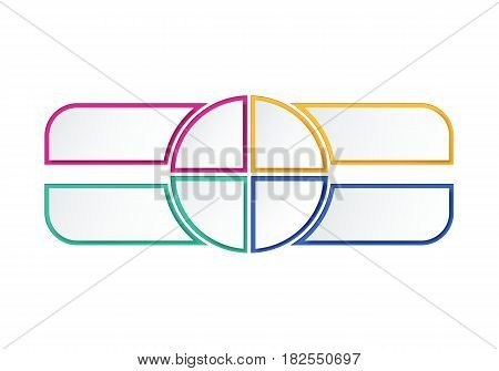 Colorful Infographics options, four steps. Blank template for work flow or web design.