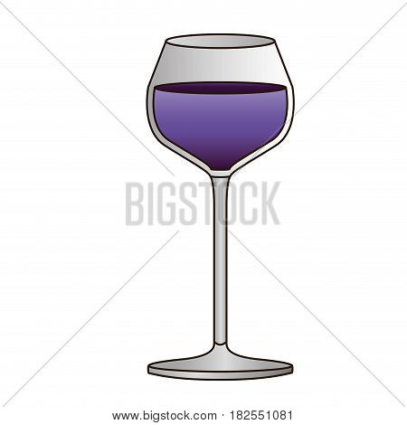 colorful silhouette of burgundy glass with purple wine and delineated vector illustration