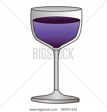colorful silhouette of glass cup with purple wine and delineated vector illustration