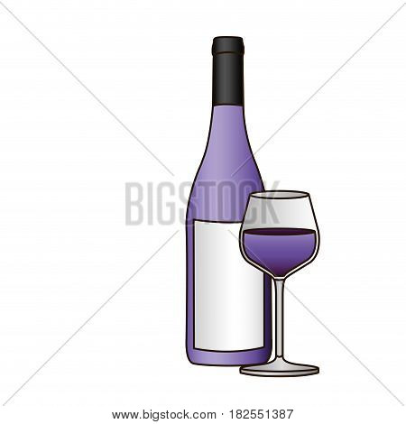 colorful silhouette with bottle of purple wine and glass and delineated vector illustration