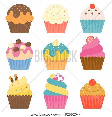 Set of cup cake icon with coating sugar, icing, chocolate ball in flat design