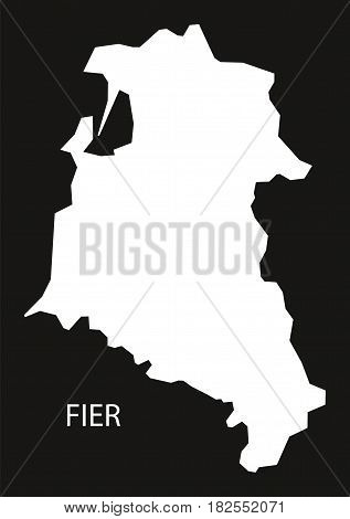 Fier Albania Map Black Inverted Silhouette Illustration