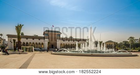 CASABLANCA, MOROCCO - MARCH 31,2017 - Building of Tribunal at the Mohamed square in Casablanca. Casablanca is the largest city in Morocco.