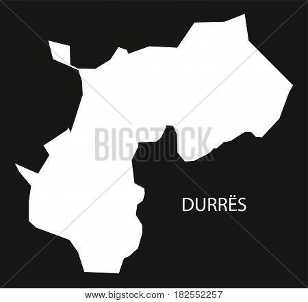 Durres Albania Map Black Inverted Silhouette Illustration