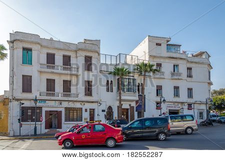 CASABLANCA, MOROCCO - MARCH 31,2017 - View at the building of Ricks Cafe from Casaclanca movie in Casablanca. Casablanca is the largest city in Morocco.