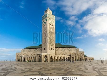 CASABLANCA, MOROCCO - MARCH 31,2017 - View at the Mosque of Hasan II. in Casablanca. Casablanca is the largest city in Morocco.