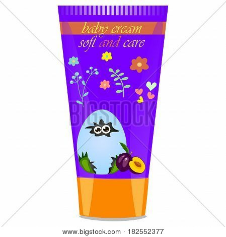 High quality original trendy vector plum Baby cream tube with kids design and crocodile or alligator on floral background illustration
