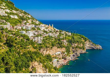 Scenic Picture-postcard View Of The Town Of Vettica Maggiore At Famous Amalfi Coast With Gulf Of Sal