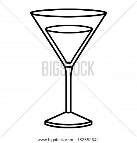 monochrome silhouette of drink cocktail glass vermouth vector illustration