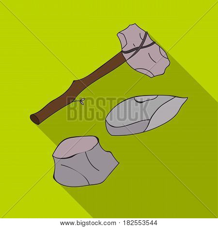 Stone tools icon in flate style isolated on white background. Stone age symbol vector illustration.