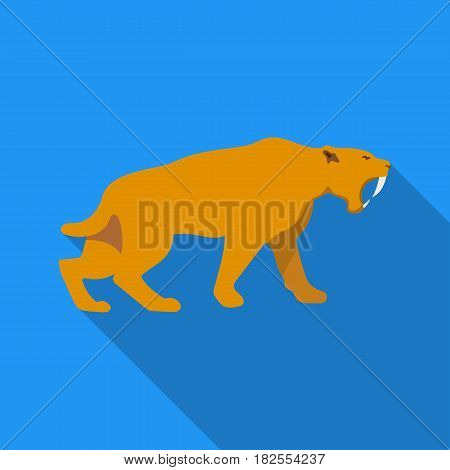 Saber-toothed tiger icon in flate style isolated on white background. Stone age symbol vector illustration.