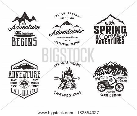 Hiking adventure and outdoor explorer typography labels set. Outdoors activity inspirational quotes. Silhouette hipster logos. Best for t shirts, mugs. Vector patches isolated on white background.