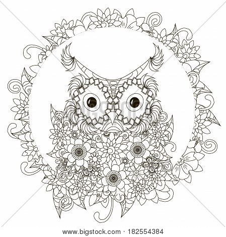 Anti stress abstract owl, flowering frame hand drawn monochrome vector illustration