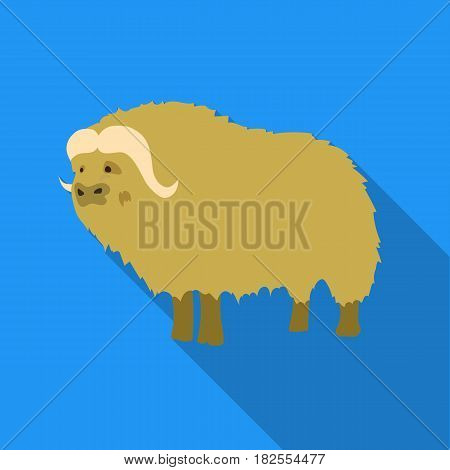Muskox of stone age icon in flate style isolated on white background. Stone age symbol vector illustration.