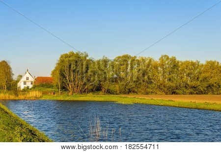 Idyllic place with an old white plastered farmhouse on the banks of a natural pond. It is a sunny day in the beginning of the spring season.