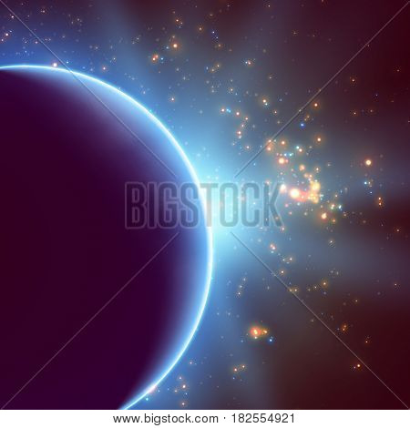 Abstract vector violet background with planet and eclipse of its star. Bright star light shine from the edge of a planet. Sparkles of stars on the background.