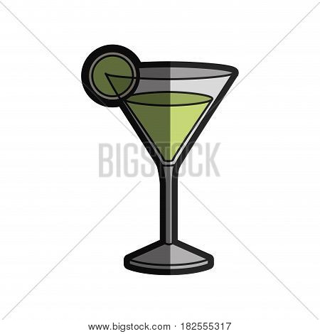light coloured silhouette of drink cocktail glass vermouth with slice of lemon with half shadow vector illustration