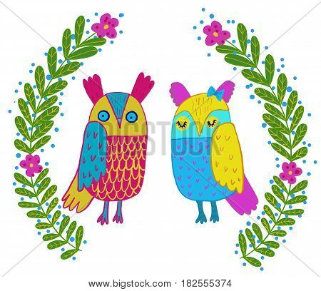 Cute owl in flowers frame.Cute hand drawn animal characters for kids design.Mothers day greeting card.