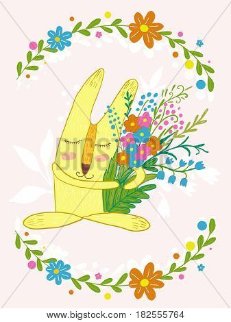 cute bunny with flowers in a frame of flowers.Cute hand drawn animal characters for kids design.Mothers day greeting card.