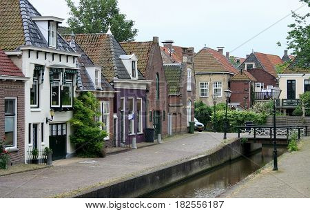 Friesland Franeker july 2016: Canal in the town of Franeker