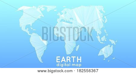 Abstract vector polygonal mesh world map. Triangulated continents. Digital map abstraction in light blue colors. Simplified continents.