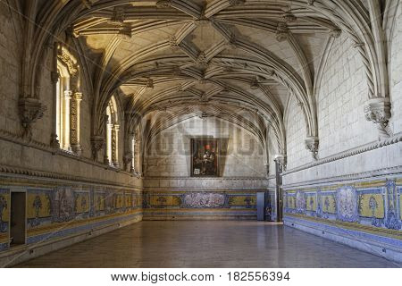 Lisbon, Portugal, April 6, 2017 : The Refectory In Jeronimos Monastery. One Of The Most Prominent Ex
