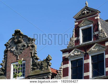 Friesland Franeker july 2016: old historic facade