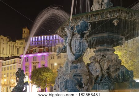 Lisbon, Portugal, April 4, 2017 : Fountain On Rossio Square. Rossio Is The Popular Name Of The Pedro