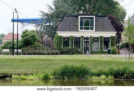 Friesland Franeker july 2016: House and drawbridge