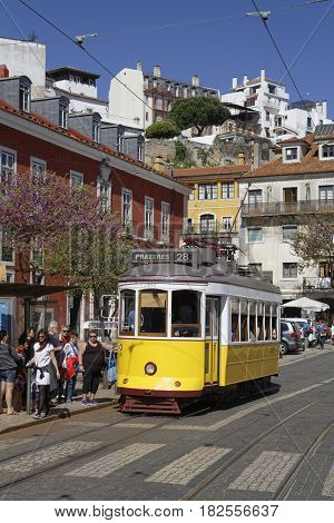 LISBON Portugal April 5 2017 : Tramway in Lisbon city center. The tramway network serves the capital city of Portugal since 1873. It presently comprises five remaining urban lines in the center