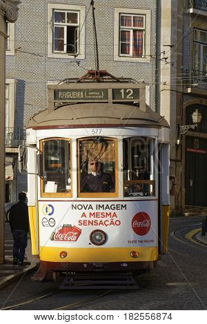 Lisbon, Portugal, April 7, 2017 : Tramway In Alfama District. The Tramway Network Serves The Capital