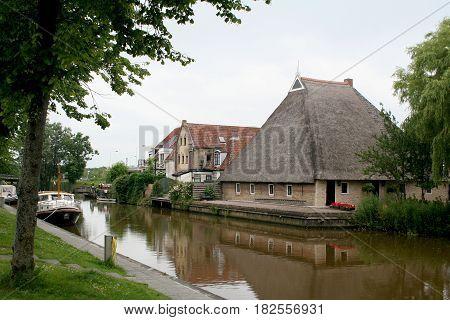 Friesland Franeker july 2016: Farmhouse in the town of Franeker