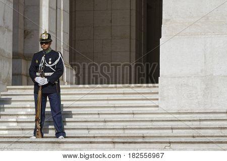 LISBON Portugal April 8 2017 : Guard at Palacio de Sao Bento. The Palace of Sao Bento has historically been the seat of the former Portuguese parliaments
