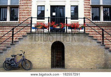 Friesland Franeker july 2016: Historical architecture in Franeker