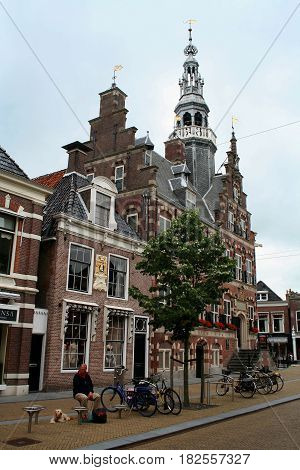 Friesland Franeker july 2016: a shopping street in the centre