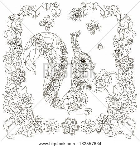 Anti stress abstract squirrel with nut, square flowering frame hand drawn monochrome vector illustration
