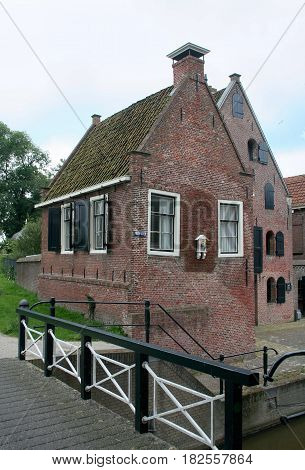 Friesland Franeker july 2016: Historical architecture house
